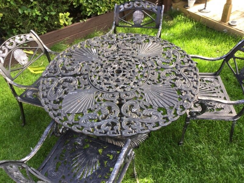 Vintage Cast Iron Garden Table And Chairs