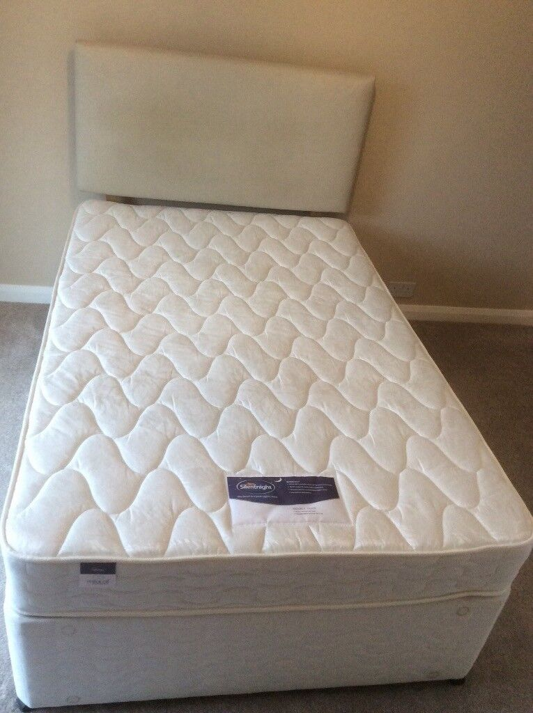 small double divan bed base 4 drawers silent night micracoil mattress with headboard