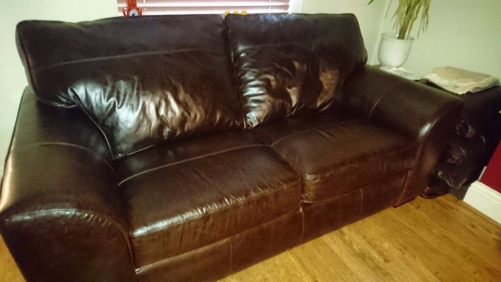 Next Stamford Leather Sofas. Never Used. Cuban Dark Brown Leather.  Literally As New