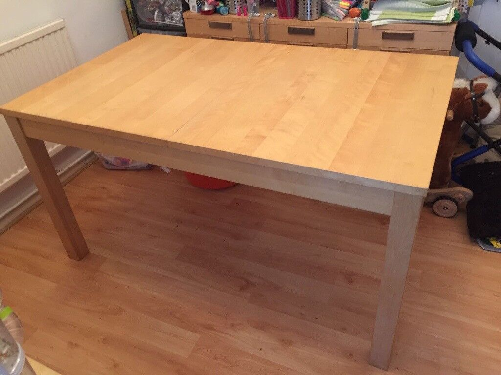 Dining Table, IKEA BJURSTA Extendable Table, Seats 4 8 People, Maple Finish