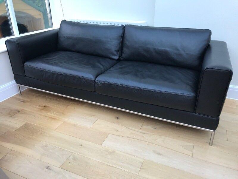 IKEA Black Leather Sofa Arild 3 Seater Sofa