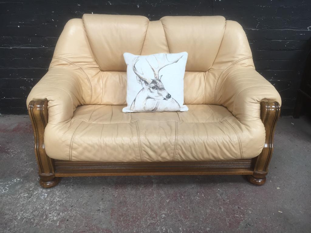 Ordinaire Fabulous Quality Belgium Leather Wood Framed Two Seater Sofa