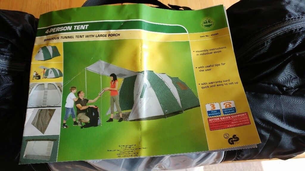 Adventuridge 4 person spacious tunnel tent with large porch never used & Adventuridge 4 person spacious tunnel tent with large porch never ...