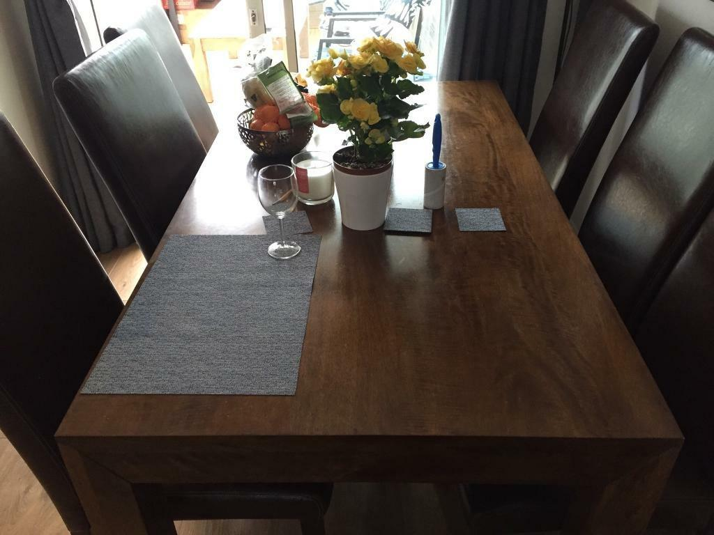 mango wood next dining table   6 leather look argos chairs mango wood next dining table   6 leather look argos chairs   in      rh   gumtree com