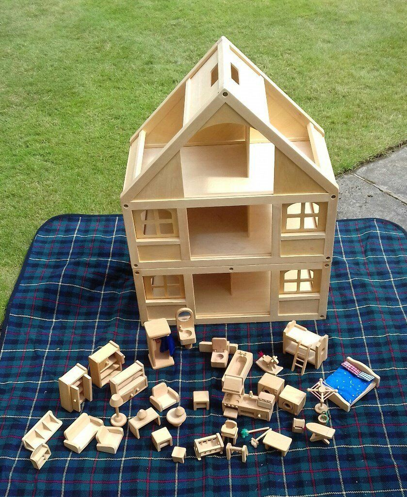 Wooden Dolls House With Furniture By ELC (Early Learning Centre).