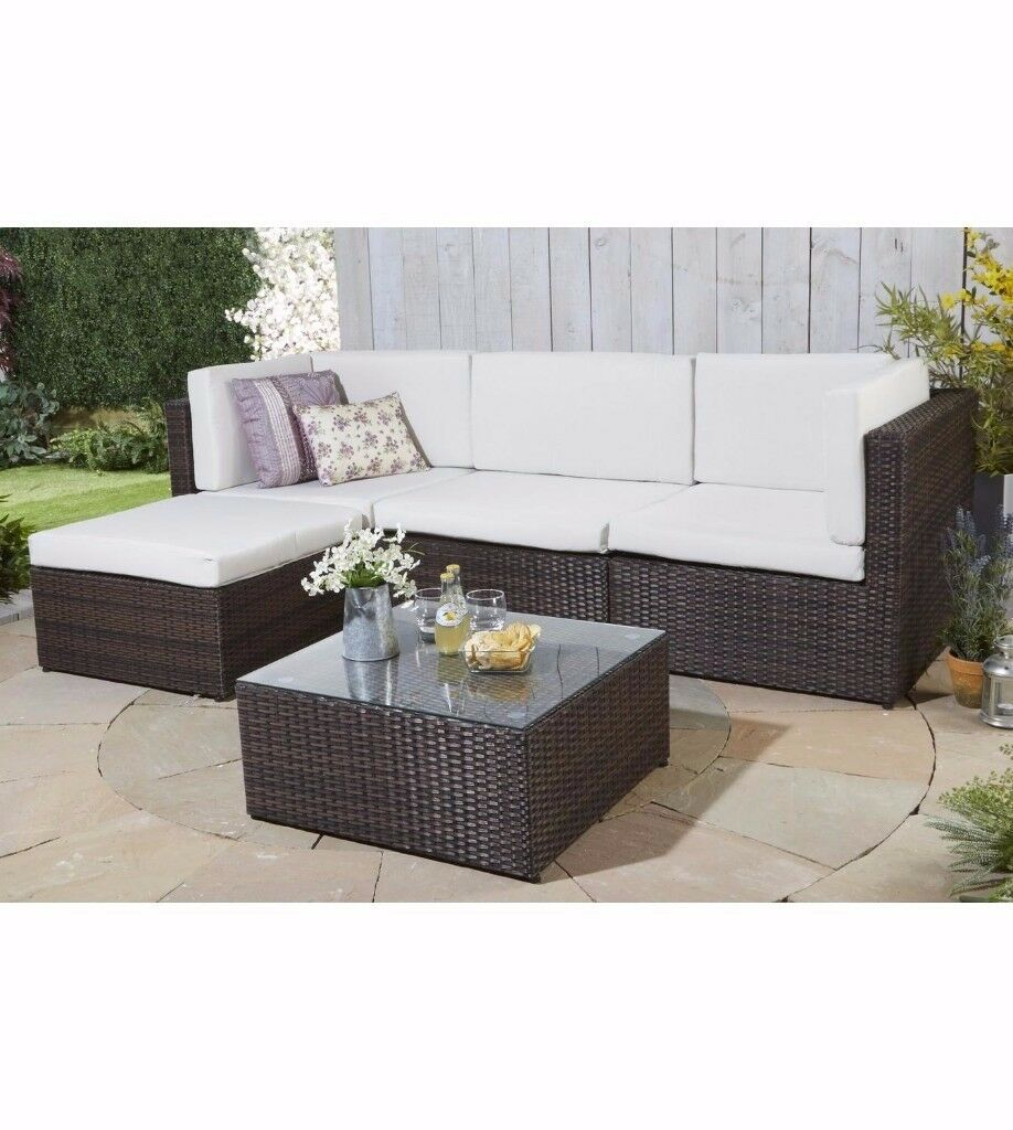 Brand New Kensington Rattan Effect Corner Lounge Set Corner Garden Sofa  Natural Cream