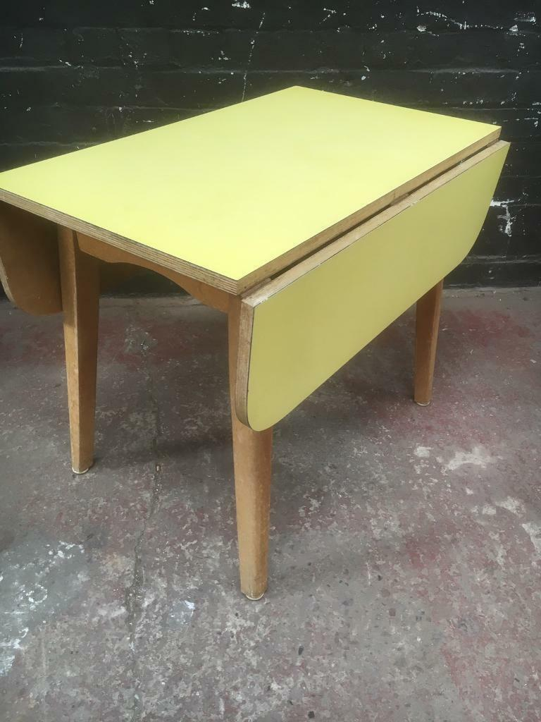 1950s Mid Century Formica Drop Leaf Low Kitchen Table By Phillipson