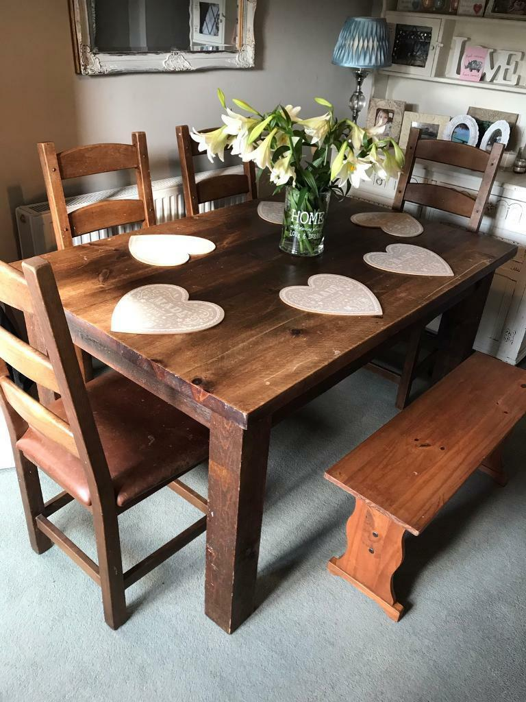 Large Solid Wood Dining Table Farmhouse And 4 Chairs Bench