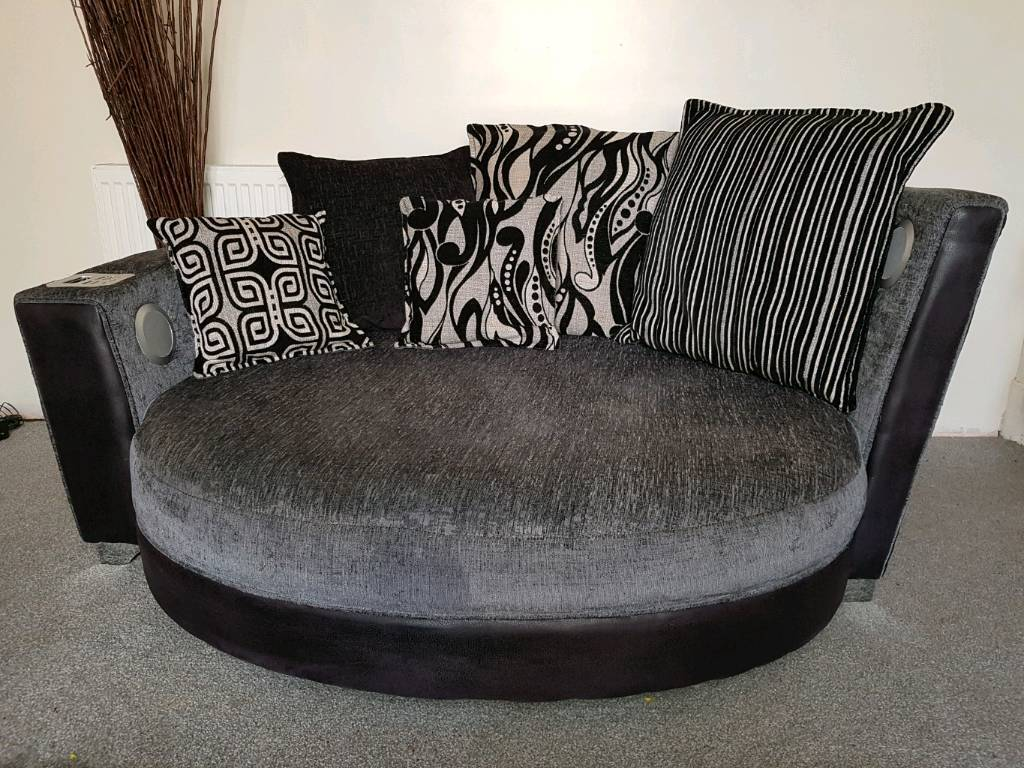 Large Cuddle Sofa (with Built In IPod Dock U0026 Speakers) In Grey U0026 Black
