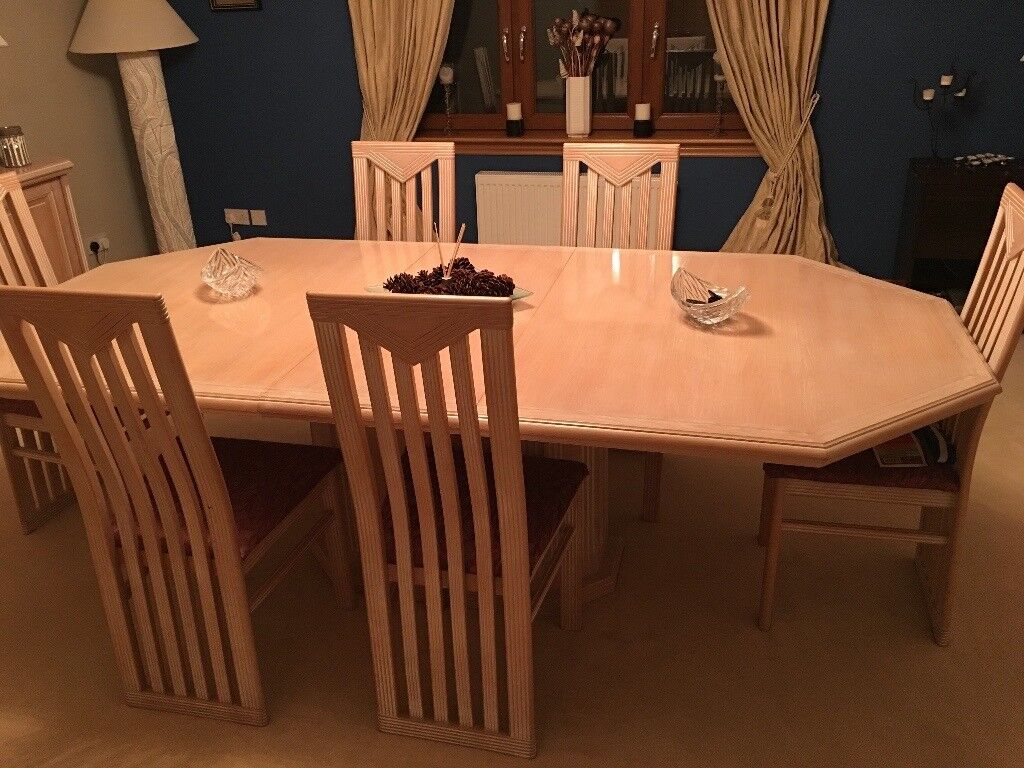 Pickled Pine Dining Room Table And 6 Chairs Part 64