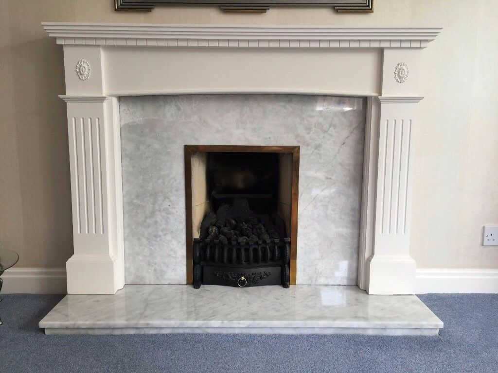 White Fire Surround Part - 27: White Fire Surround And Gas Fire