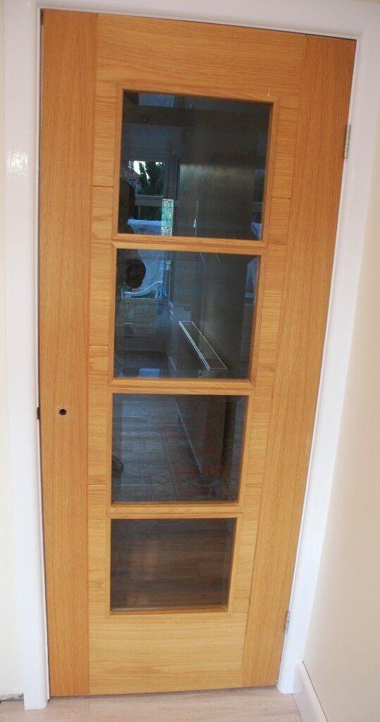 Todd Doors natural oak internal glazed door 4 glass panels & Todd Doors natural oak internal glazed door 4 glass panels | in ...