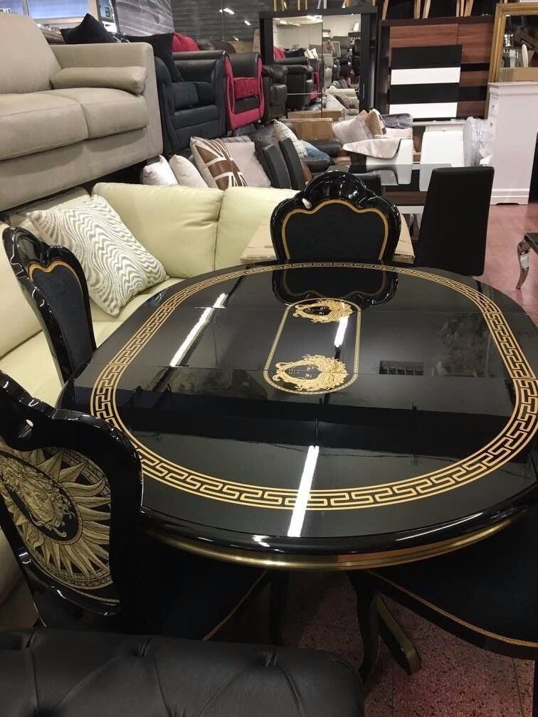 Black High Gloss Versace Dining Table + 4 Dining Chairs