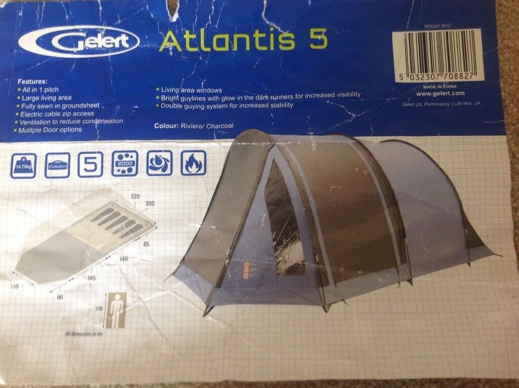 GELERT ATLANTIS 5 TENT WITH EXTENSION PORCH & GELERT ATLANTIS 5 TENT WITH EXTENSION PORCH | in Plymouth Devon ...