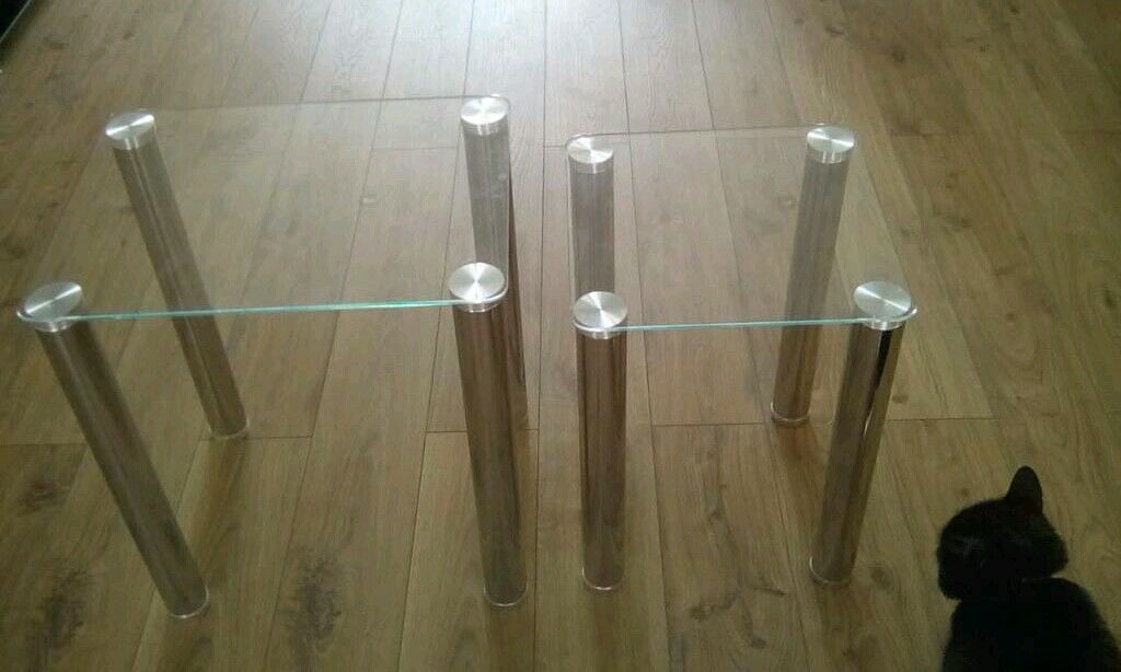 Argos Nest Of Glass And Chrome Occasional Tables, Two Tables