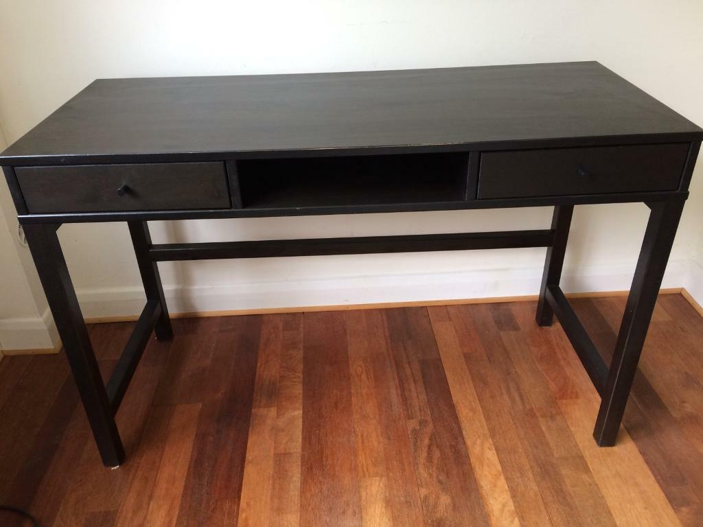 IKEA Hemnes Black Brown Solid Wood Desk With 2 Drawers