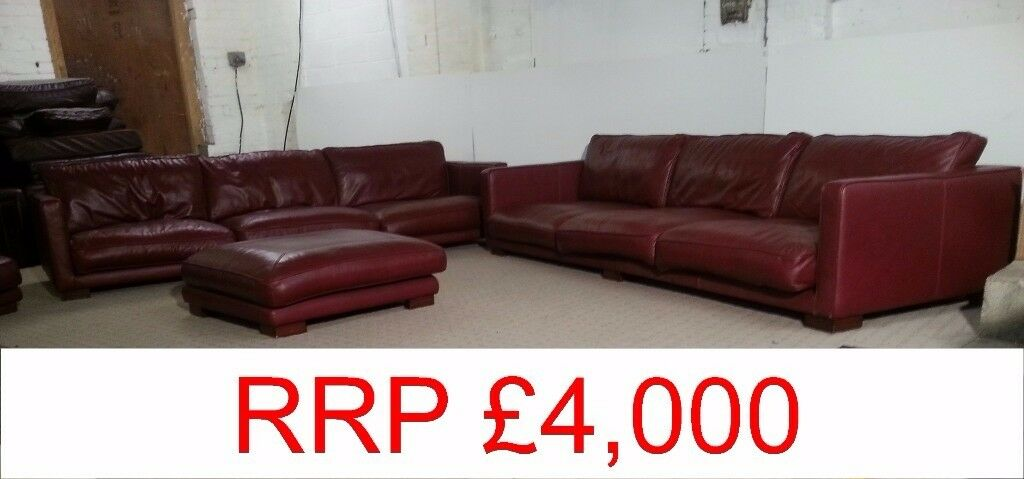 Two DFS 10ft Burgundy Leather Sofa With Buffet U0026 Side Unit   DELIVERY  AVAILABLE RRP £