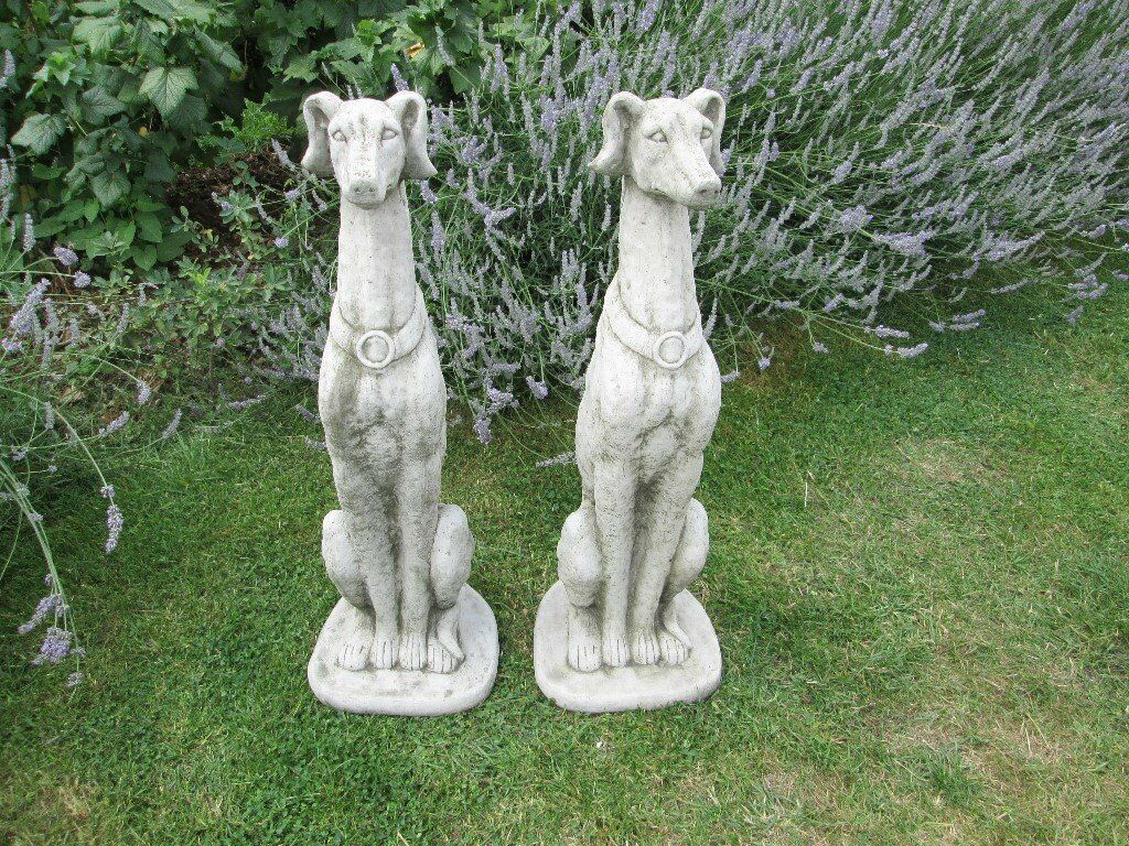 Pair Of Tall Sitting Stone/concrete Whippet/greyhound Dog Garden Ornaments