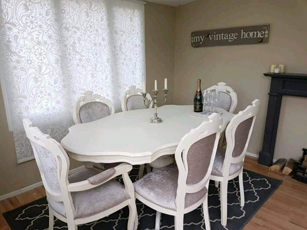 Stunning Italian Shabby Chic Dining Table And 6 Chairs
