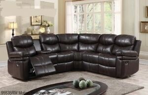 Attractive LIQUIDATION SALE BOTH END RECLINER SECTIONAL IN BROWN