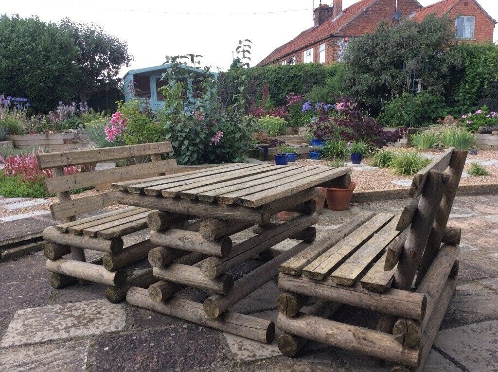 Wooden Garden Table And Two Benches