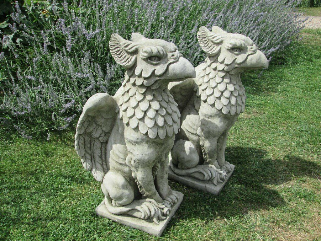 Pair Of Stone/concrete Griffin/eagle Garden Ornaments/statues