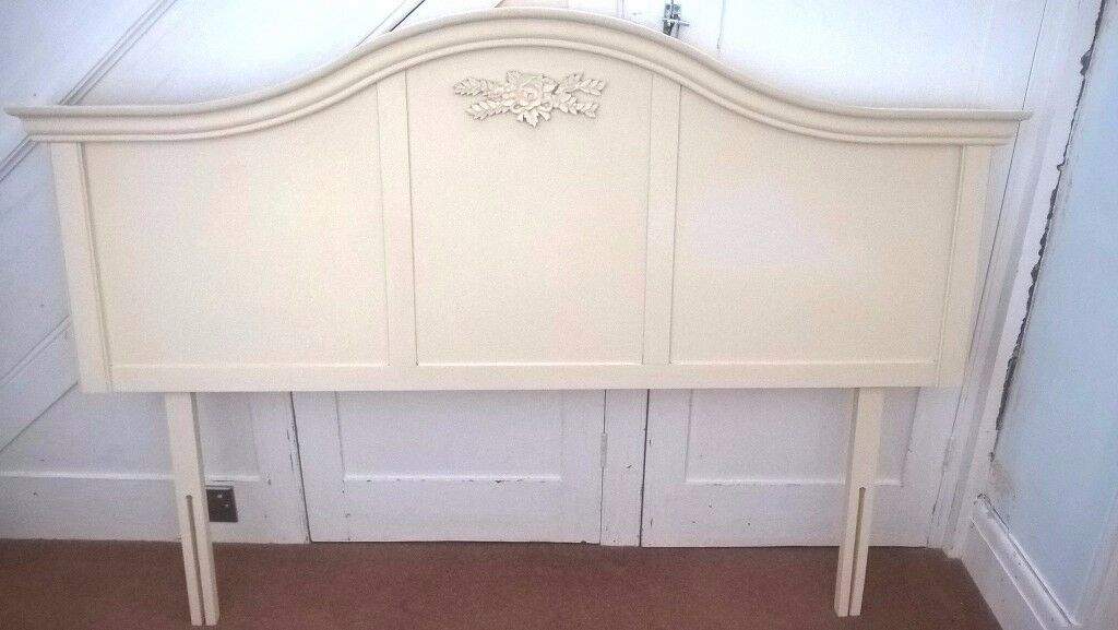next cream shabby chic headboard to fit kingsize divan bed