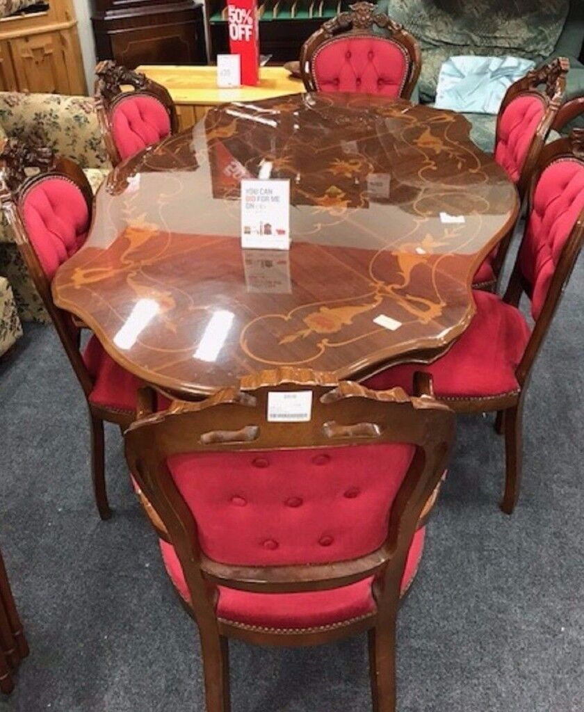 6 Seater Wooden Italian Inlaid Dining Table   Rococo Style   Free Delivery    FREE 4