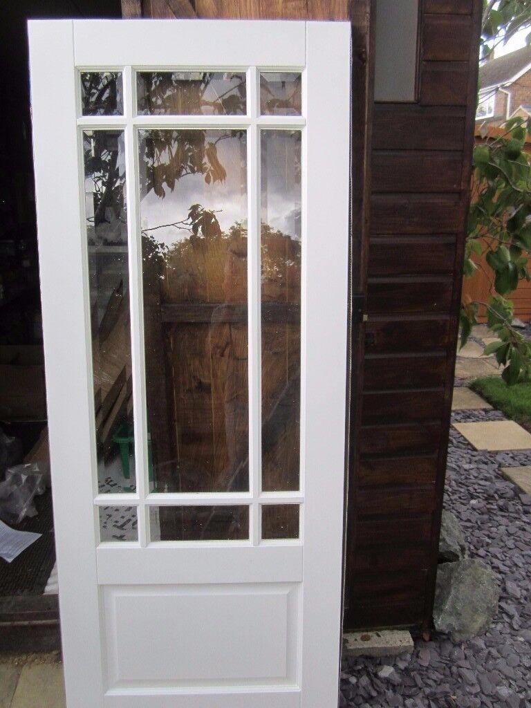 NEW LPD Downham White Composite Internal Door 78 x 30 inch 9 panel Bevelled Glass Glazed & NEW LPD Downham White Composite Internal Door 78 x 30 inch 9 panel ...