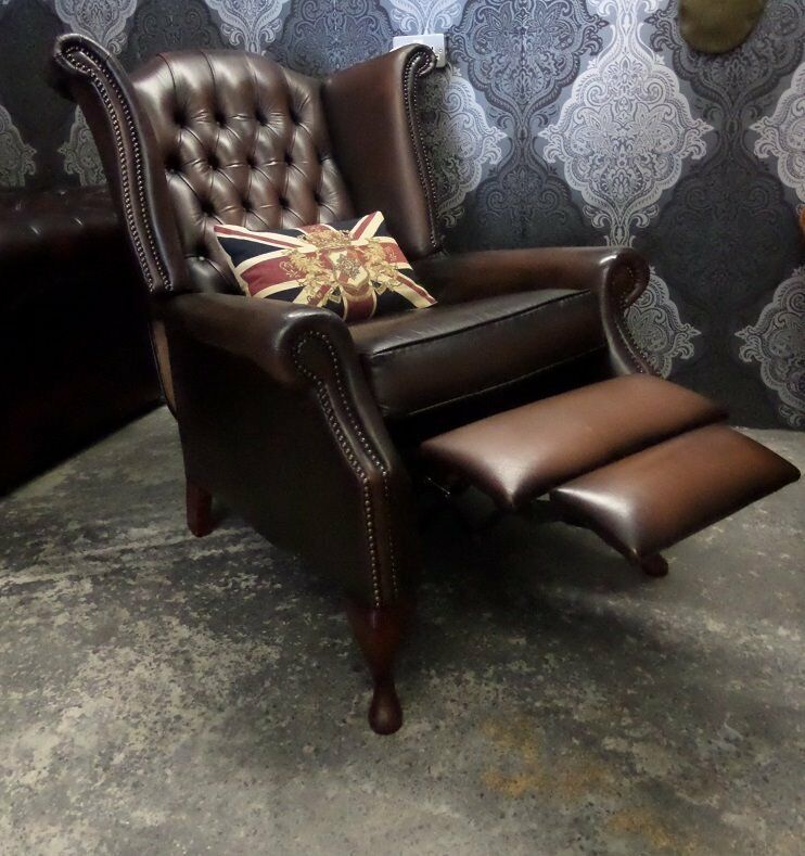 Stunning Chesterfield Recliner Queen Anne Wing Back Arm Chair in Brown Leather - UK Delivery & Stunning Chesterfield Recliner Queen Anne Wing Back Arm Chair in ... islam-shia.org