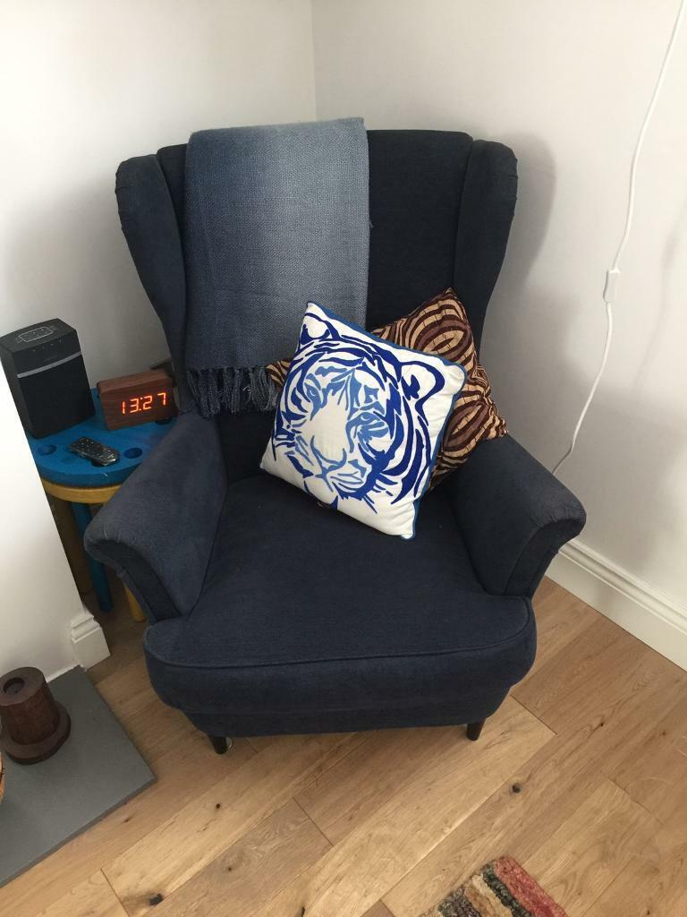Rare Dark Blue Ikea Strandmon Wing Chair