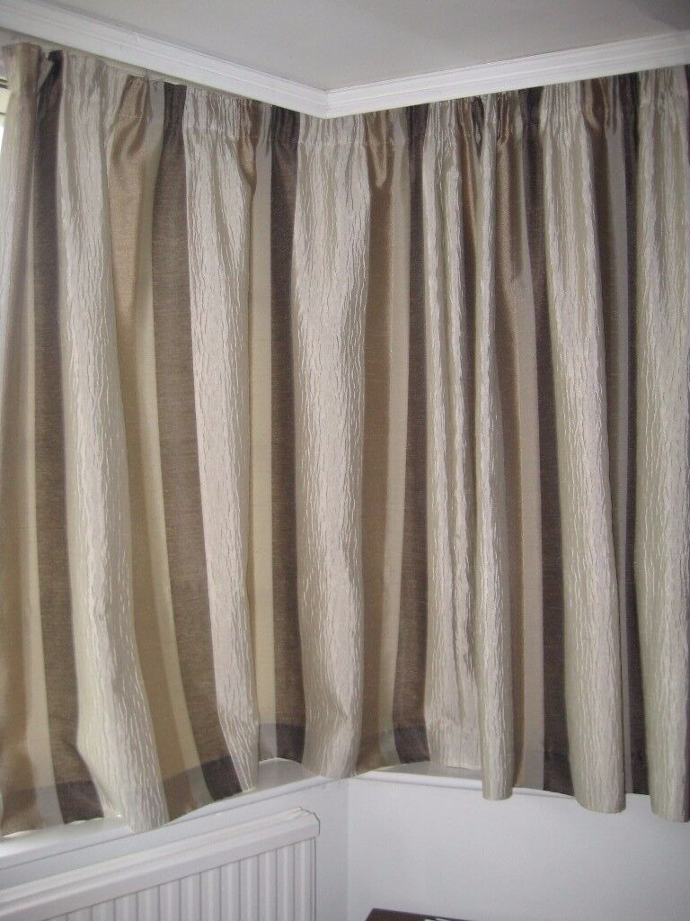 Pair Of Fully Lined Striped Curtains In Shades Of Brown, Gold U0026 Beige