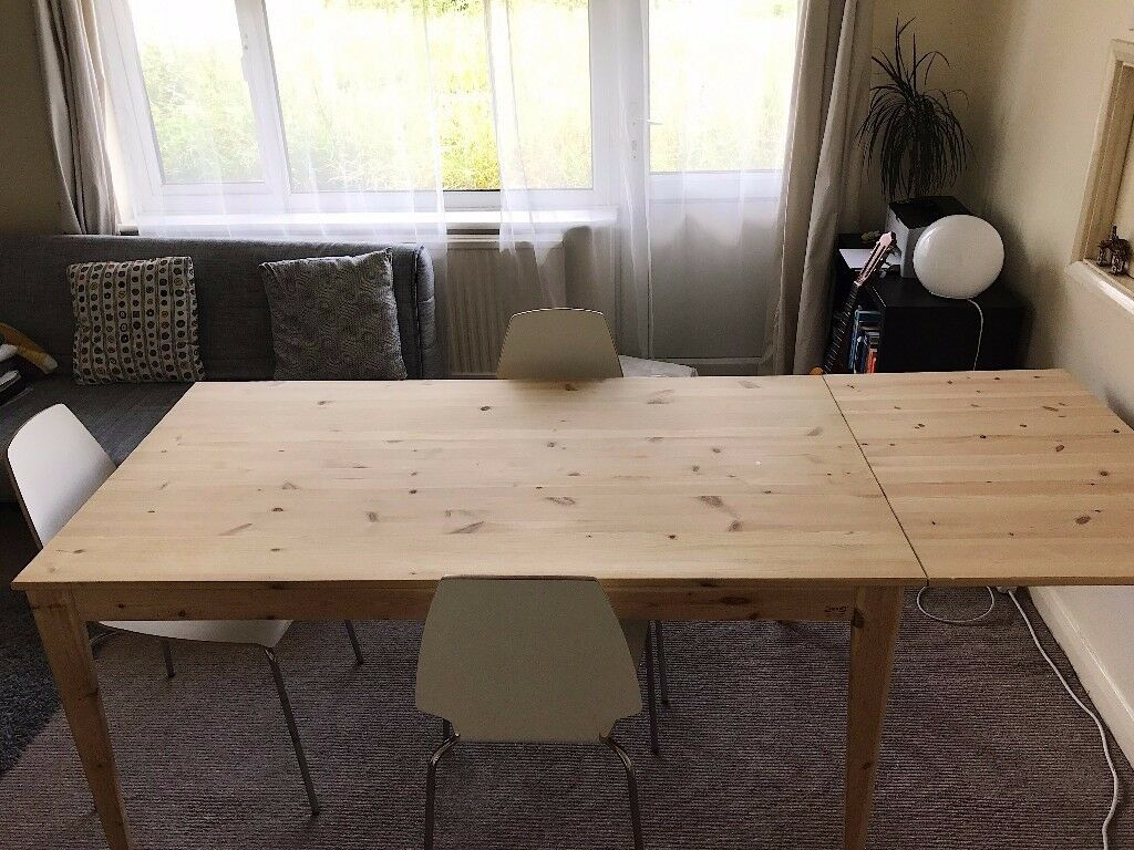 [NEW PRICE] IKEA Nornas Drop Leaf Dining Table (Solid Wood) And 3x
