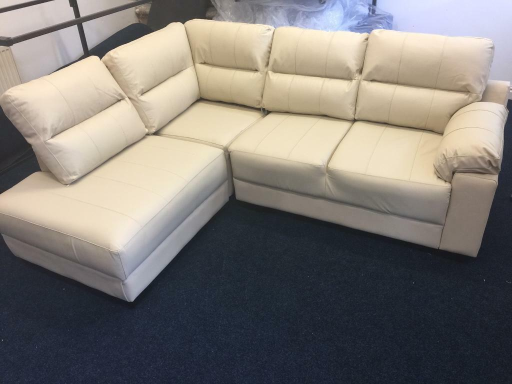 littlewoods saskia cream leather corner sofa ex display mint condition