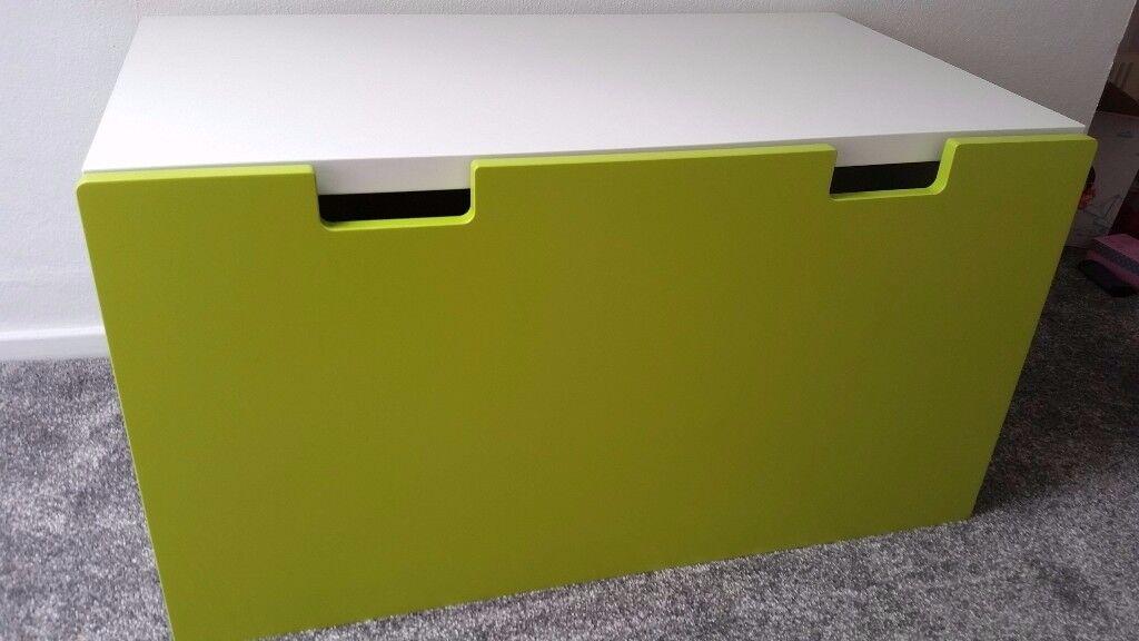 IKEA STUVA CHILDRENS GREEN STORAGE BENCH 90 × 50 × 50 CM
