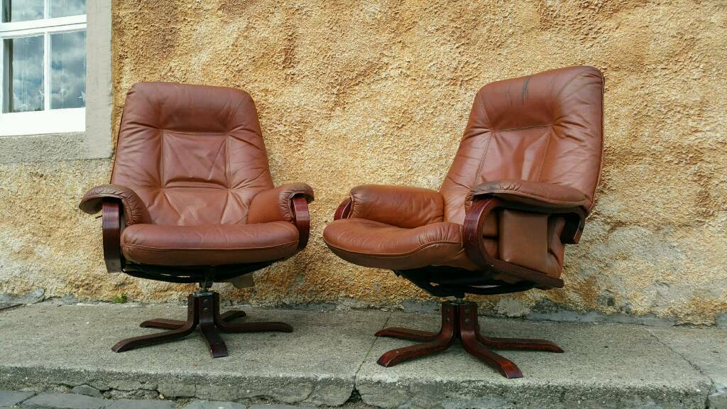 Vintage Swedish Tan Hide Leather Swivel Recliner ArmChairs Danish Scandi