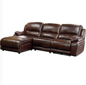 Cindy Crawford Marco Leather 3 Piece Sectional