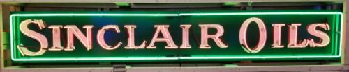 SINCLAIR OILS 8FT LONG HAND PAINTED NEON SIGN *Gas & Oil FREIGHT SHIPPING