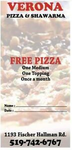12 FREE PIZZAS for $25.00 One time fee.