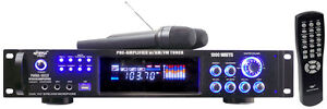 PYLE PWMA1003T 1000W Hybrid Pre-Amplifier + AM-FM/MP3/USB/Dual Wireless Mics