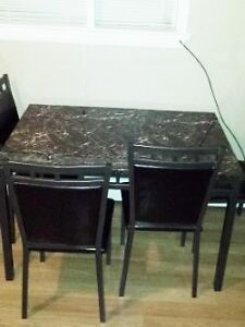 Leather Sofa and dinning table (with chairs) ($900 + $400 obo)