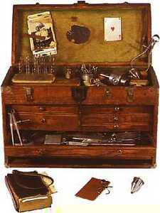 Old wood tool box or chest
