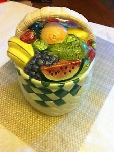 Vintage Fruit - Wicker Woven Basket Cookie Jar