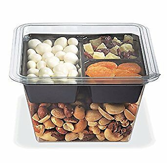 Gocubes 32 Oz Pet Container With 3-comp Black Insert And Clear Lid 50 Sets