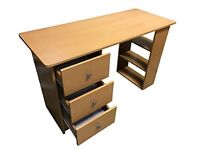 Secondhand Redstone Beech Home Office Work Station Desk (3 Drawers + 3 Shelves)