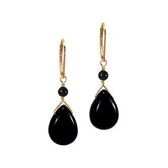Black Onyx Teardrop Dangle 14K Gold gf  Earrings on Rummage