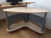 Corner PC / Computer Desk Table with Display Shelf, Home Office, portable Workstation.