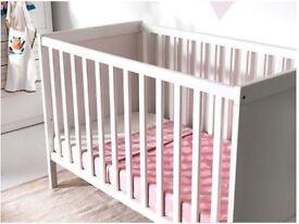 Ikea SUNDVIK Cot, mattress and Tutti Bambini C11 Cot Top Changer - White