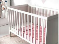 Ikea SUNDVIK Cot and Tutti Bambini C11 Cot Top Changer - White