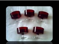 RUBY RED DESSERT GLASSES - SET OF 5 - FOR SALE
